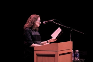 Susan Tepper reading at the Somerville News 7th Annual Writers Festival (Photo: Somerville News)